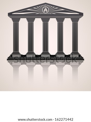 Antique roman temple stylized  background. Raster copy - stock photo