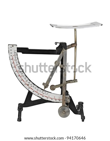 Antique rust household weight scale (clipping path ) - stock photo