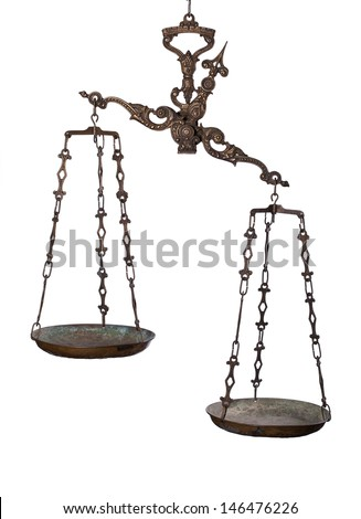 Antique rusty balance scale isolated on white background. Justice and making decision concept. Uneven odds, not being in balance, one is more important than the other. - stock photo