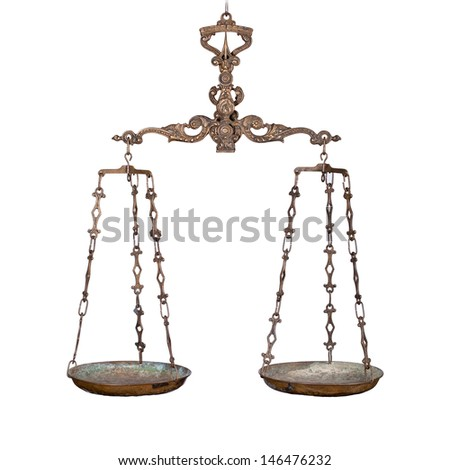 Antique rusty balance scale isolated on white background. Justice and making decision concept. Even odds, being in balance. - stock photo