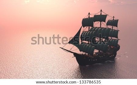 Antique sailing ship at sea.