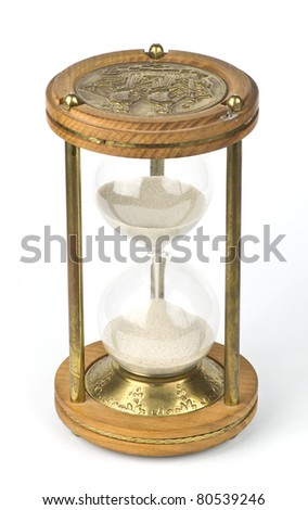 Antique Sandglass isolated on white background - stock photo