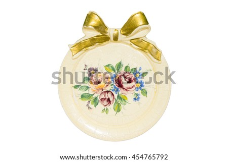 Antique saucer or dish isolated on white background - stock photo