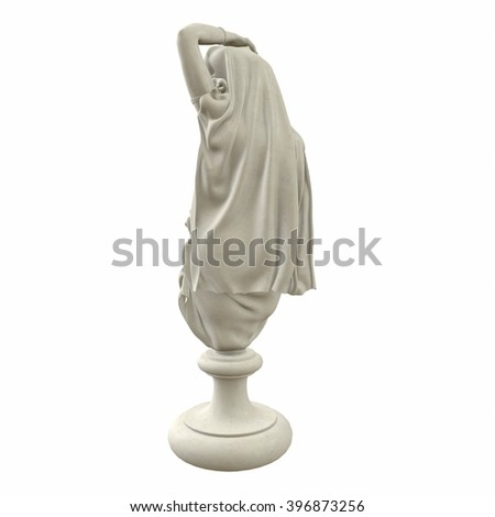 Antique sculpture of a woman. Naked woman on a pedestal. 3d illustration - stock photo