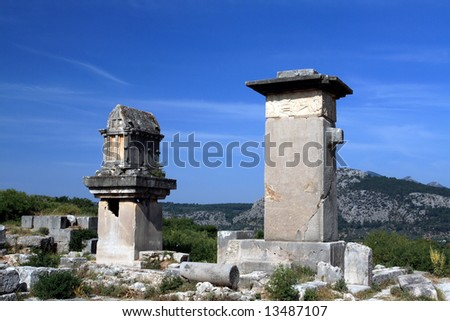 antique sculptures from lycia civilization - stock photo