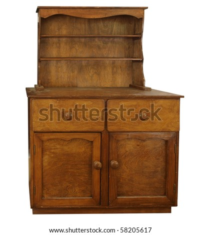 Antique Sideboard isolated with clipping board