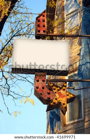 Antique Sign on Building - stock photo