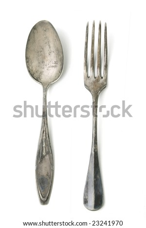 Antique silver fork and spoon - stock photo