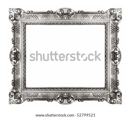antique silver frame isolated - stock photo