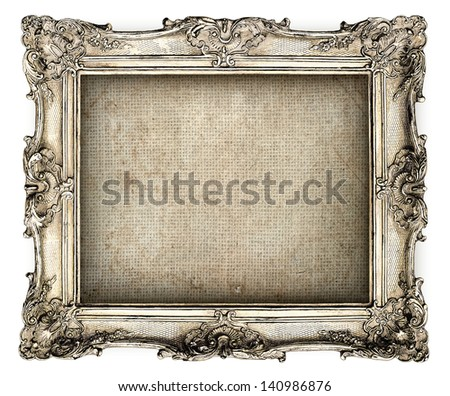 antique silver frame with empty grunge canvas for your picture photo image beautiful