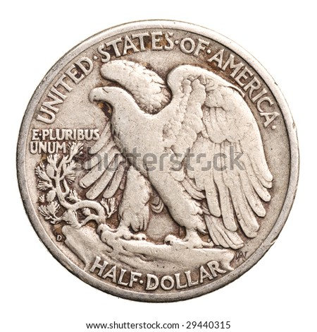 antique silver half-dollar isolated on white background - stock photo