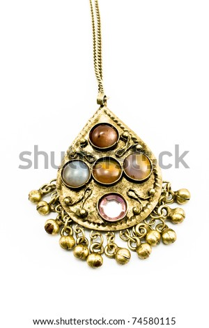 Antique silver necklace with gems isolated on white