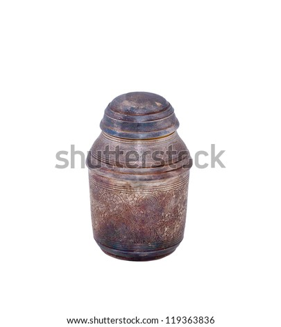 antique silver urn for ashes isolated over white background - stock photo