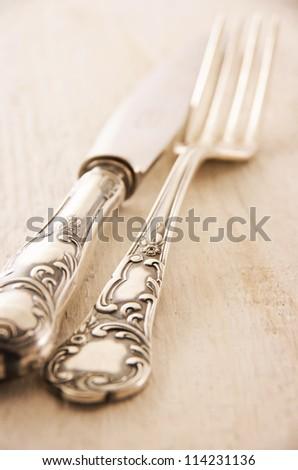 antique silverware - stock photo