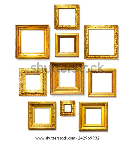 Antique square gold frames collection on white background. Gallery wall ideas - stock photo