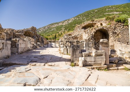 Antique street in the archaeological area of Ephesus, Turkey. Ephesus is a candidate for inscription on the World Heritage list of UNESCO