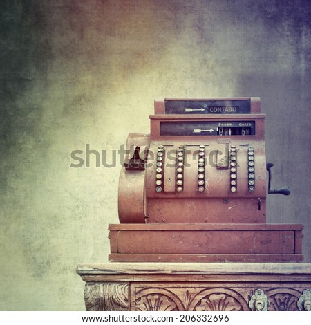 Antique style cash register  - stock photo