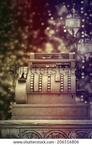 Antique style cash register  - stock photo