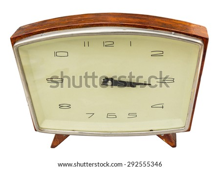 Antique table clock isolated. Clipping path included. - stock photo