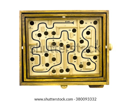 Antique table game labyrinth isolated on white background - stock photo
