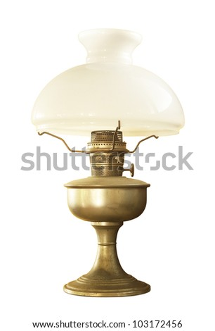 Antique table lamp isolated on white background - stock photo