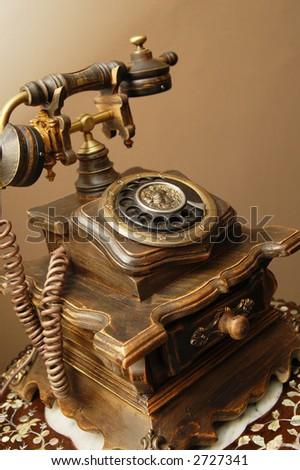 antique telephone - stock photo