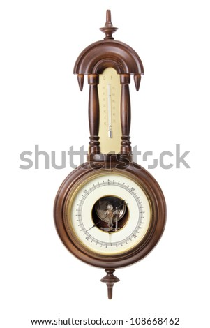 Antique Thermometer and Hygrometer on White Background - stock photo