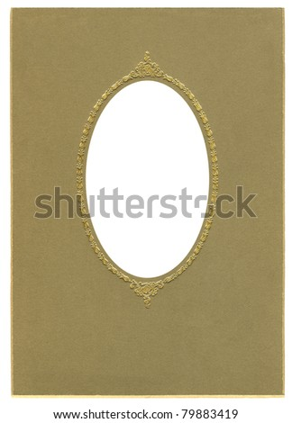 Antique Tintype Oval cardboard Frame with gold tulips - stock photo