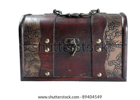 antique treasure box isolated over white background - stock photo