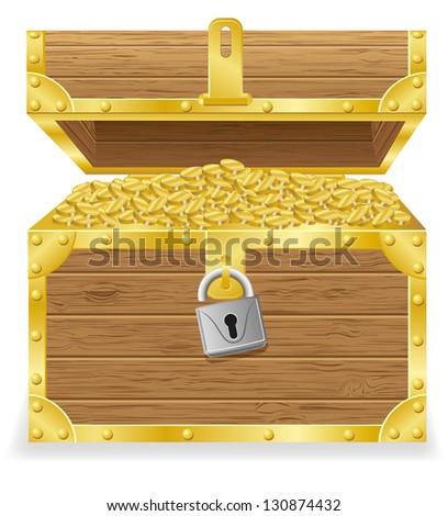 antique treasure chest  illustration isolated on white background - stock photo