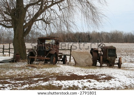antique truck and tractor