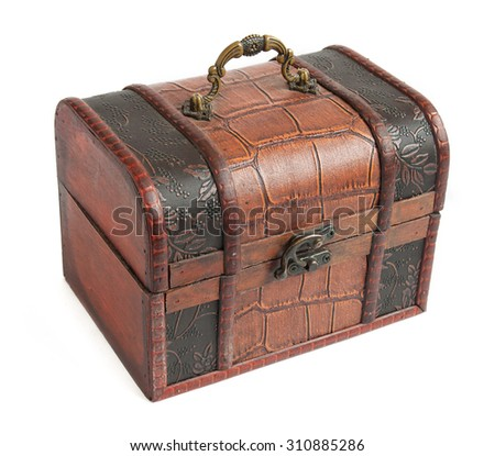 Antique trunk coated with iron isolated on white background