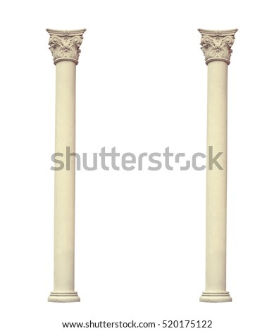 Antique two columns of the Corinthian order on a white background