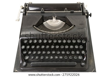 Antique Typewriter Isolated on White
