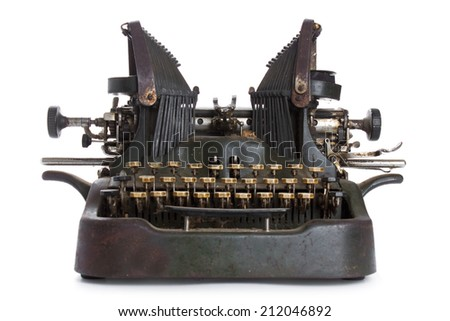 Antique typewriter isolated on white background - stock photo