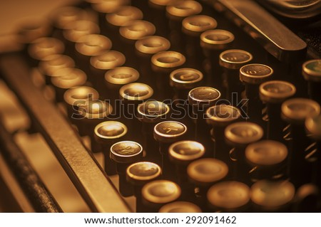 Antique typewriter keys close up, selective focus - stock photo