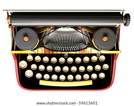 Antique typewriter. steam punk style - stock photo