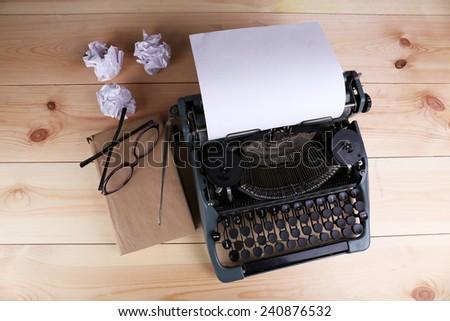 Antique Typewriter. Vintage Typewriter Machine - stock photo