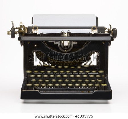 Antique typewriter with paper