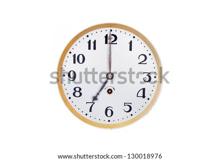 Antique vintage clock, isolated on white background - stock photo