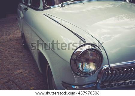 Antique vintage retro automobile bumper car front light - stock photo