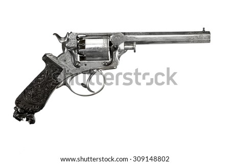 Antique vintage revolver decorative ornate isolated on white