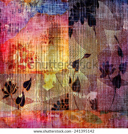 Antique vintage texture, old-fashioned weathered background. With different color patterns: purple (violet); blue; black; red (orange); yellow (beige) - stock photo