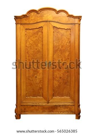 Antique Vintage Wood Wardrobe Isolated On White