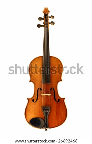 antique violin isolated on white with clipping path - stock photo