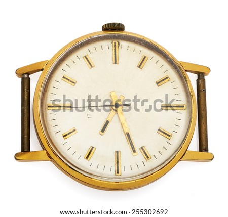Antique watch isolated on white - stock photo