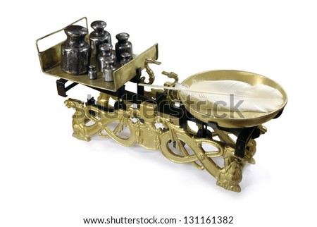 Antique weighing scale on white background - stock photo