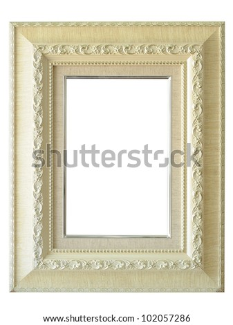 Antique white frame classic style  isolated on white background. - stock photo