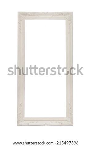 antique white frame with white background - stock photo