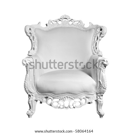 antique white leather chair isolated on white - stock photo